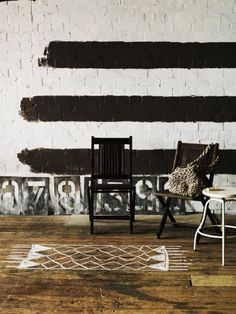 painted stripes and rug