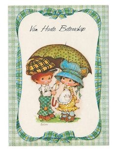 Vintage post card 70s. Cute little couple under a umbrella. Bonnie Bonnets.. $4.75, via Etsy.