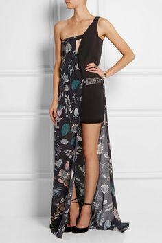 Versus One-Shoulder Printed Silk-Chiffon and Crepe Maxi Dress