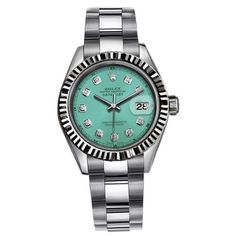 Pre-owned Rolex Datejust Stainless Steel Teal / Cyan Diamond Dial &... ($4,599) ❤ liked on Polyvore featuring jewelry, watches, pre owned jewelry, bezel watches, 18k watches, teal jewelry and diamond dial watches