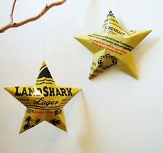 Reuse, Reduce, Recycle! Love these Christmas ornaments. Get buzzed and decorate the whole tree!
