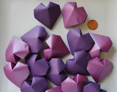 16 Origami Hearts (3D).Handmade.Paper Heart.Wedding Favor.Bridal shower.Home decor.Gift for her.Valentine's Day.Violet heart.Spring decor