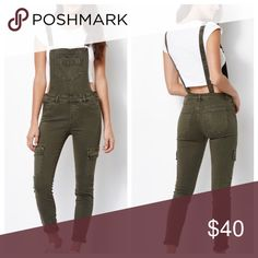 Kendall & Kylie Green Cargo Overalls Only worn once and in great condition ✨ Kendall & Kylie Jeans Overalls