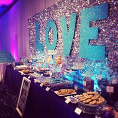 Dessert Table with Sparkly Backdrop.  Silver & Teal.  Styled by LOVEinc Dessert Styling
