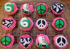 peace, love, and rollerskates cupcakes