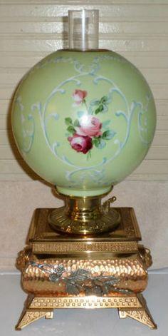 C1890 Aesthetic Lion Head B H Center Draft Parlor Banquet Oil Lamp Roses Shade | eBay