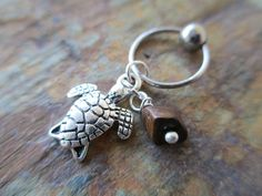 Silver Turtle Tortoise with Tiger Eye Stone Chip Tragus Cartilage Ear Piercing Helix Piercing Captive Ring Body Jewelry on Etsy, $8.00