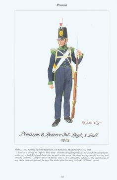Prussia: Plate 21. 8th Reserve Infantry Regiment, 1st Battalion, Musketeer Private, 1813