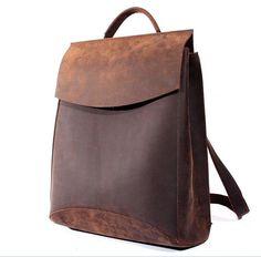 57994bc7b8d80 Vintage Casual Handmade 100% Genuine Crazy Horse Leather Cowhide Men Women  Travel Backpack Shoulder Bag Bags Backpacks For Man