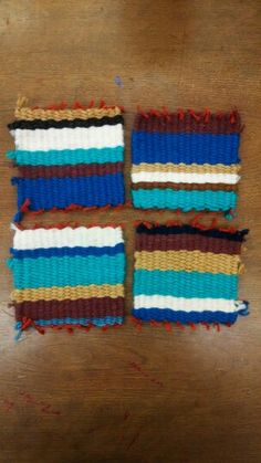Cardboard loom weaving, I made a set of four coasters
