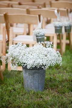 Baby's Breath Rustic Wedding Ceremony Flower Decorations
