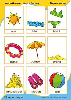 Nieuwe woordkaarten 1 voor kleuters, thema zomer, kleuteridee, free printable.