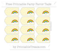 Pastel Yellow Chevron Rainbow Party Favor Tags