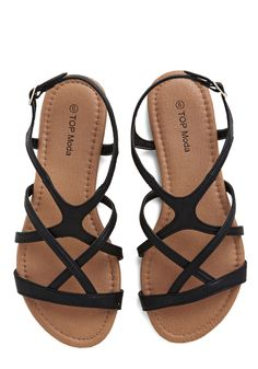 Strappy to Help Sandal. Whenever youre stuck in a footwear funk, you simply call on these black sandals to help you out! #black #modcloth