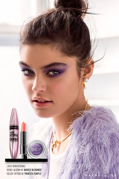 Ready for some flirty spring nights? We call this trend Rebel Bloom, and it gives pastels a whole new attitude. Crash the party with vivid purple eyeshadow, flushed nude lips and a flirty lavender faux fur. Get the look with Color Tattoo eyeshadow in 'Painted Purple', Color Sensational Rebel Bloom in 'Barely Bloomed' and Lash Sensational.