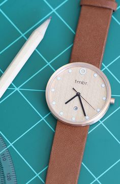 Rose Gold & Cherry Wood Watch With Brown Leather Strap - Minimalist Designed Watch with Date