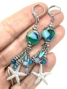 Starfish Czech Glass Beaded Cluster Dangle Earring fit comfortably from your ear with Stainless Steel Lever Backs. These Earrings will go with just about anything you choose to wear. Many more Earrings to choose from. Beaded Tassel Earrings, Women's Earrings, Beaded Jewelry, Jewelry Gifts, Fine Jewelry, Jewelry Making, Weird Jewelry, Braided Bracelets, Czech Glass Beads