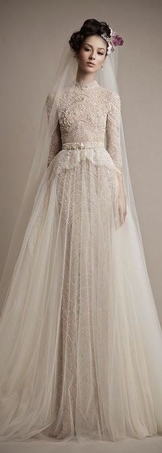 Ersa Atelier wedding gown with a high neckline Top Wedding Dress Trends for 2015 - Part 2 Lace Bridal, Bridal Style, Wedding Attire, Wedding Gowns, Muslim Wedding Dresses, Wedding Lace, Modest Wedding, Autumn Wedding, Spring Wedding