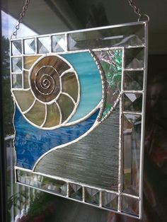 Nautilus Shell Stained Glass Panel