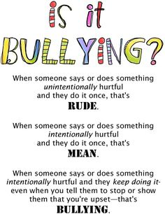I have this issue every year in my class. I hate how people throw around the word bullying. Bullying is a huge claim in school. For all those parents out there here's Rude vs. Classroom Behavior, School Classroom, Behaviour Management, Classroom Management, Stress Management, Freetime Activities, School Social Work, Middle School Counseling, Elementary Counseling