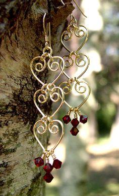 Handmade Gemstone Earrings: Beaded Wire Wrap Golden Pearl, Crystal, Chandelier, Dangle Drop Long Earring - inspiration - item for. Wire Jewelry Designs, Handmade Wire Jewelry, Diy Jewelry, Beaded Jewelry, Jewelry Making, Ethnic Jewelry, Jewellery Box, Jewelry Stores, Jewelry Ideas