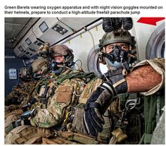 COOL MILITARY PIXS - GREEN BERETS WEARING OXYGEN & NIGHT VISION FOR HIGH ALTITUDE FREE-FALL PARACHUTE JUMP