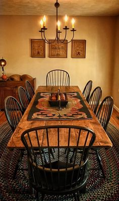 41 Captivating Rustic Dining Room Designs You Cant Miss Out. Rustic dining room tables give an impression of ruggedness to any observer. However, a rustic table is attractive because of that. Primitive Dining Rooms, Farmhouse Dining Room Table, Dining Room Table Decor, Country Dining Rooms, Dining Room Design, Dining Room Furniture, Rustic Table, Primitive Kitchen, Primitive Decor