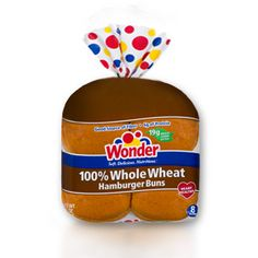 Wonder® 100% Whole Wheat Hamburger Buns- A full serving of whole grains with your burger? Yes you can! With Wonder 100% Whole Wheat Hamburger Buns, you will get the benefits of 19 grams of whole grains in a soft and delicious bun.