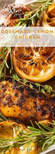 LEMON-ROSEMARY CHICKEN Ingredients: 4 boneless chicken breasts 1 Tbsp olive oil 2 Tbsp minced garlic 1/4 cup dry white wine 3 Tbsp freshly squeezed lemon juice 1 Tbsp grated lemon zest 3 teaspoons of fresh rosemary or 1 1/2 teaspoons dried rosemary Kosher salt and freshly ground black pepper to taste 1 lemon, sliced. ----Click through for full recipe.-----