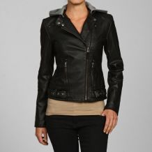 @Overstock - A detachable fleece hood in contrasting grey completes the look of this Buffalo women's motorcycle jacket. This jacket features a studded detail at the shoulder and reinforced elbows for added durability.http://www.overstock.com/Clothing-Shoes/Buffalo-Womens-Black-Hooded-Motorcycle-Jacket/5075346/product.html?CID=214117 $111.99