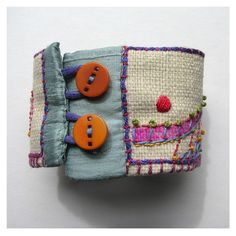 Hand Embroidered Recycled Organic Cuff by MadrigalEmbroidery