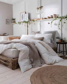 Home Interior Boho Neutral Cozy Bedroom Inspiration Fluffy Cloud Down Comforter Bed Wood Frame Platform Bed.Home Interior Boho Neutral Cozy Bedroom Inspiration Fluffy Cloud Down Comforter Bed Wood Frame Platform Bed Home Decor Bedroom, Bed Comforters, Home, Bedroom Makeover, Perfect Bedding, Small Bedroom, Simple Bedroom, Comfy Bed, Down Comforter Bedding