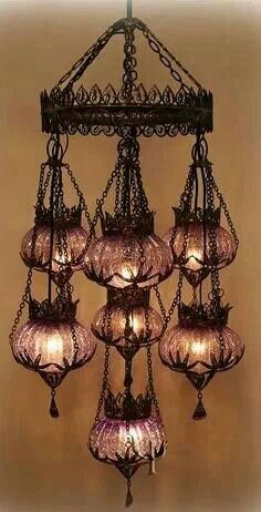 Ottoman Chandelier - Lamp is made of crackle glass. Metal part is copper , handmade filigree.