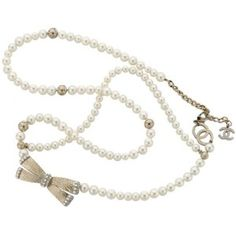 Chanel Long Pearl and Bow Necklace