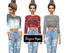 Kenzar Sims: Sayer-tops • Sims 4 Downloads Check more at http://sims4downloads.net/kenzar-sims-sayer-tops/