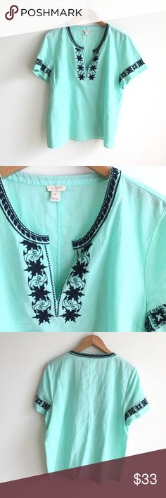 J.Crew Mint Embroidered Short Sleeve Peasant Top 55% linen, 45% cotton. Loose, boxy fit. Mint green body with navy embroidery detailing on sleeves and neckline. Split neck. Excellent pre-owned condition. J. Crew Factory Tops Tees - Short Sleeve