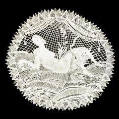 Handmade lace designed by Austrian Wiener Werkstätte artist and metalworker designer Dagobert Peche (1887-1923). Silk, 13.5 x 12.5 in. via Mutual Art