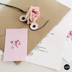 Andrea & Max. Rustic. Vintage. Kraft. Pink invitations. Wedding invitation.
