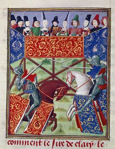 French knights jousting - Froissart's Chronicles (Volume IV, part - BL Harley MS 4379 - Category:Chroniques de Froissart - British Library Harley — Wikimedia Commons Medieval Horse, Medieval Art, Medieval Knight, British Library, Illuminated Letters, Illuminated Manuscript, Illumination Art, Knight Art, Late Middle Ages