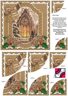 Church Window Christmas 6in Duo Corner Stacker Card Front on Craftsuprint - Add To Basket!
