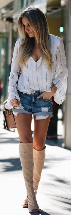 #spring #fashion /  White Striped Shirt / Ripped Denim Short / Beige OTK Boots
