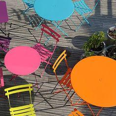 Bistro Round Folding Table by Fermob Round Folding Table, Round Tables, The Bistro, French Bistro, Bistro Set, Modern Outdoor Furniture, Garden Furniture, Folding Furniture, Urban Furniture