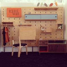 Maple plywood Kerf Wall up and styling at Modernism Week in Palm Springs. By Kerf Design, made in Seattle, Washington. kerfdesign.com