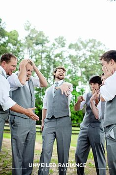 Groomsmen and Groom silly joke.    Chassity- Many & Drew need to do this at their wedding!!!!!