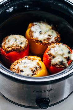 Quinoa Black Bean Crockpot Stuffed Peppers - a super easy vegetarian recipe made with just a few pantry ingredients!