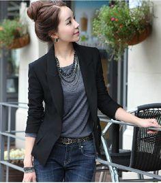 A5242 2013 women's plus size solid color slim small suit jacket blazer $15.64