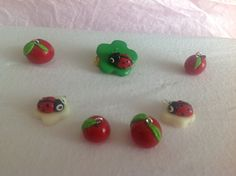Fimo ladybirds and apples