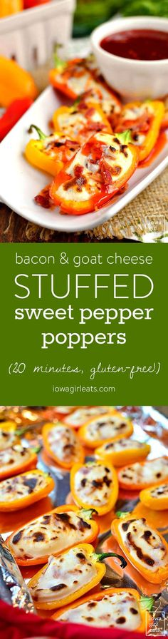 Bacon and Goat Cheese Stuffed Sweet Pepper Poppers are an addicting ...