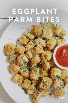 Eggplant Parm Bites. A healthy alternative to game day snack foods that'll make kids and parents happy.