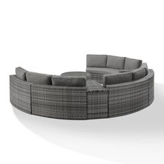 Michal 6 Piece Rattan Sectional Seating Group with Cushions Round Sectional, Grey Sectional, Outdoor Sectional, Grey Outdoor Furniture, Glass Top Coffee Table, Grey Cushions, Wood Dust, Cushion Fabric, Wicker